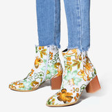Women Large Size Flower Printed Chunky Heel Ankle Short Boots