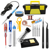 60W 110V 220V Soldering Iron Kit Adjustable Temperature Electrical Welding Solder Tool Set US EU Plug