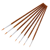 7 PCS Oil Painting Brush Wood Handel Nylon Hair Hook Line Pen For Watercolor Acrylic Painting