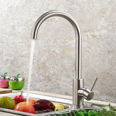 Kitchen Faucet 360 Rotate Stainless Steel Hot and Cold Sink Faucet Mixer Water Taps Spout Basin Deck Mounted Crane for Kitchen