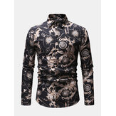 Mens Business Casual Breathable Print