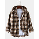 Men's New Fashion Plaid Printing Loose Sanding Hooded Long-sleeved Shirts Coats