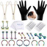 42PCS Professional Body Piercing Tool Kit Ear Nose Navel Nipple Needles Set