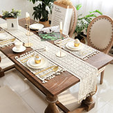 Beige Crochet Lace Table Runner Tassel Wedding Decorations Hollow Tablecloth Party Decor