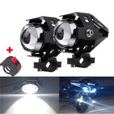 2pcs U5 Motorcycle LED Headlights Black Driving Fog Spot Hi/Lo Light with Kill Switch