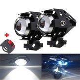 2 stks U5 Motorfiets LED-koplampen Zwart Driving Fog Spot Hi / Lo Light met Kill Switch