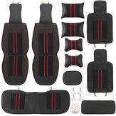 سيارة عالمية 5 مقاعد بو الجلود أسود / أحمر كامل غطاء وسادة حصيرة وسادة وسادة