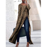 Leopard Printed Casual Split Hem Casual Long Shirt
