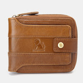 Men RFID Vintage Genuine Leather Short Zipper 12 Card Slots Wallet