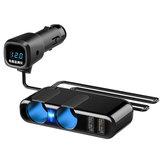 12V USB Auto Feuerzeug Steckdose Splitter Digital Display Ladegerät Adapter