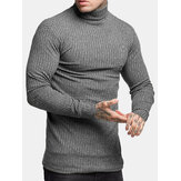 Mens Fashion Cotton High Collar Sweaters