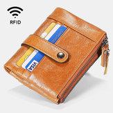 Men Genuine Leather RFID Zipper Wallet 15 Card Slots