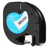 Cinta de etiquetas de plástico portátil de 12 mm x 4 m compatible con DYMO LetraTAG 91200 negro sobre blanco
