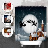 Christmas Snowman Waterproof Fabric Bathroom Shower Curtain With 12 Hook