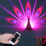 Remote Control Night Light Projector 7 Color Changing LED Peacock Wall Lamp Gift