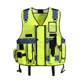 Mesh respirant jaune fluorescent de sécurité vêtements sécurité réglable haute visibilité gilet de sécurité gilet réfléchissant haute sécurité tissu et poche