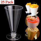 25 Sztuk Deser Mousse Cup Cup Canape Dania Clear Plastic Jelly Goblet Party