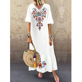 Bohemian Floral Print V-neck Flare Half Sleeve Beach Maxi Dress