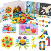 252PCS Jigsaw Puzzle Wood Toy Kids Intelligence Development Tangram Brinquedos de educação precoce