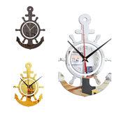 3D Anchor Helmsman Sailor Pirate Ship Estilo Mediterrâneo Personalidade da parede Relógio