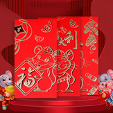 Cartoon Mouse Year Zodiac Sign Red Envelope Embossed Frosted Bronzing Paper Envelopes Lucky Money
