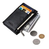 Men Anti-Theft RFID Blocking Wallet Thin Faux Leather Zipper Wallet Purse Coin Bag