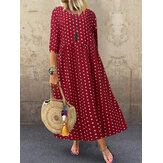 Women Loose O-neck Polka Dot 3/4 Sleeve Maxi Dress