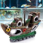 Аквариум Орнамент крушение Парусный спорт Лодка Затонувший корабль Разрушитель Fish Tank Украшения пещеры