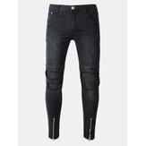 Cremallera de agujeros plegables Biker Delgado Ripped Jeans