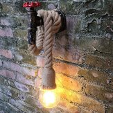 Vintage Industrial Water Pipe Wall Lamp Sconce Hemp Rope Pendant Light Fixture