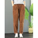 Women Elastic Waist Solid Color Corduroy Pants