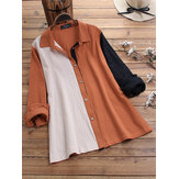 Hit Color Patchwork Cotton Casual Long Sleeve Shirts