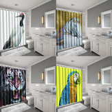 Waterproof Fabric Scenery Bathroom Shower Curtain Panel Sheer and Bath Mat Toilet Cover Bath Rugs