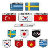 3D Alüminyum Alaşım Araba Oto Gövde Etiket Çıkartmaları Türkiye / İsveç / Yunanistan / Kore / Vietnam / Japonya Bayrağı