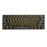 Royal Kludge 907.402 Bluetooth Bedraad Dubbele modus 60% Golden / Ice Blue backlit mechanisch gamingtoetsenbord