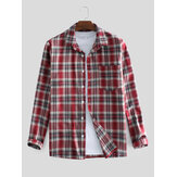 Mens 100% Cotton Plaid Printed Chest Pocket Long Sleeve