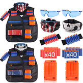 Children 2 Sets Tactical Tank Tops Kit Wrist Bands Face Mask Protective Glasses Darts