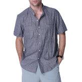 メンズカジュアルストライプワークシャツヴィンテージストライプボタンダウンブラウスVネックトップスTシャツ