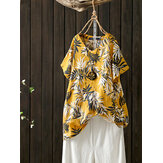 Women Casual Floral Print O-Neck Short Sleeve T-Shirts