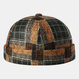 Sin ala Cráneo Gorra Costura a cuadros multicolor Patrón Gorras Soft Sombreros personalizados de fieltro Sombreros sin ala