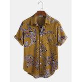 コットンピーコックフェザーフローラルプリントカジュアル半袖シャツ