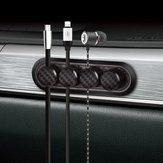 Bakeey Carbon Fiber 4 Clips Magnetic Cable Winder Organizador de cabo Organizador