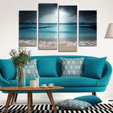 Miico Handgeschilderde viercombinaties Decoratieve schilderijen Blue Sea Wall Art voor huisdecoratie