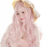 Long Pink Wigs with Bangs Water Wave