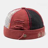 Herres bomuldsfarve matchende Plaid Brimless Hats Skull Caps