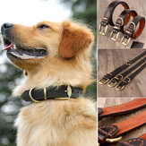 Genuine Cow Leather Dog Pet Puppy Cat Collar Neck Buckle Neck Strap Brown S/L/XL