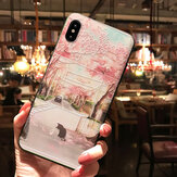 Bakeey 3D Flower and Cat Landscape Painted Embossed TPU Soft Pokrowiec ochronny na iPhone X 6 / 6s iP 7/8