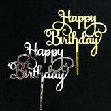 عيد ميلاد سعيد أكريليك كعكة توبر زينة فضة الذهب حزب اللوازم