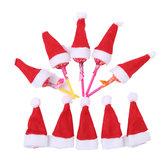 Loskii 10pcs/Pack Mini Christmas Hat Santa Claus Hat Xmas Lollipop Hat Mini Wedding Gift Creative Caps Christmas Tree Ornament Decor