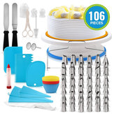106 PCS Set Multi-color DIY Decorações Do Bolo Bicos de confeiteiro Turntable Mold Spatula Bags Tools Kit Para Festa